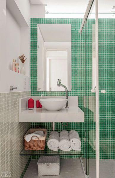 Decoração e Projetos Decoração de Banheiro Pequeno com Pastilhas -> Banheiro Pequeno Bem Planejado