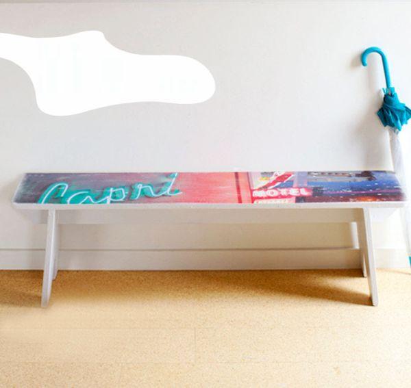 Banco com transferência de foto para decoração de ambientes é lindo e decora de forma primorosa (Foto: poppytalk.com)