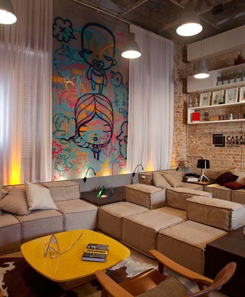 Grafite na decoração de casa é moderno e pode servir como truque de style para os seus ambientes (Foto: pinterest.com)