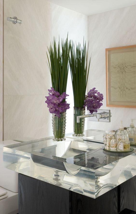 Decoração e Projetos 15 Ideias Decoração com Flores para Banheiro -> Flores Artificiais Para Decoracao De Banheiro