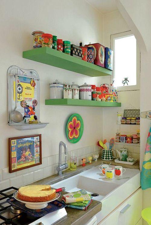 Decora o e projetos 15 ideias decora o de cozinha barata for Decoracion de cocinas pequenas con repisas