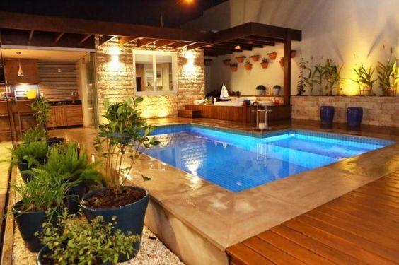 Decora o e projetos decora o de rea de lazer com piscina e churrasqueira - Piscinas rusticas ...