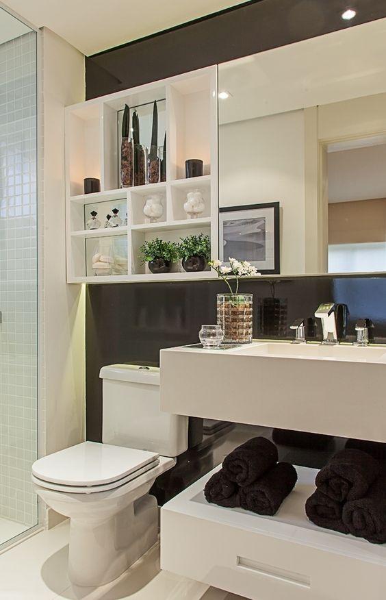 Decoração e Projetos Decoração de Banheiro Preto e Branco – Fotos -> Decoracao De Banheiro Preto E Branco Fotos