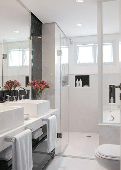 Decoração e Projetos Decoração de Banheiro Preto e Branco – Fotos # Decoracao De Banheiro Preto E Branco Fotos