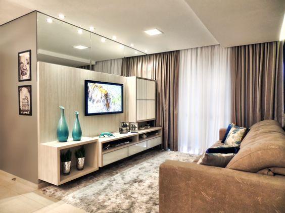 Gesso Na Sala De Tv ~ Decoração e Projetos Decoração de Sala com Gesso e Espelho