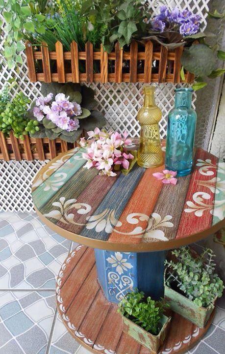 Decora o e projetos decora o com carretel de madeira fotos for Decoracion del hogar barato