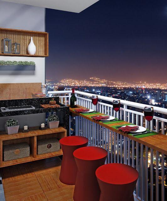 Apartamentos com varanda gourmet tornam-se são muito mais interessantes (Foto: pinterest.com)