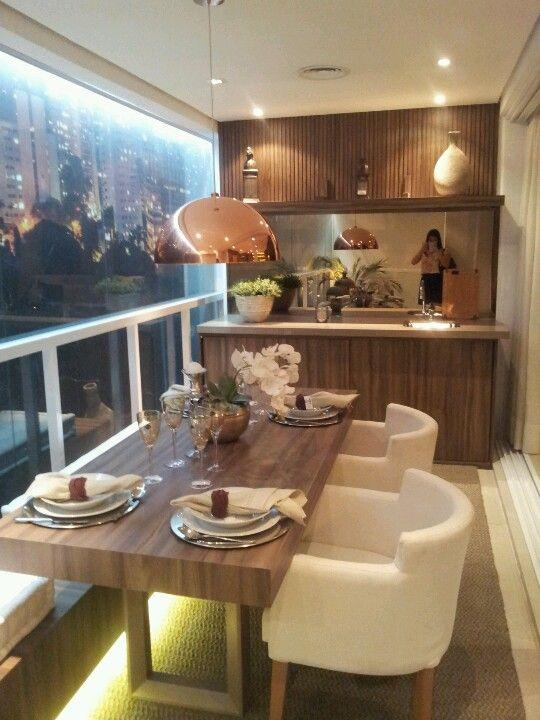 Decoraç u00e3o e Projetos 8 Modelos de Apartamentos com Varanda Gourmet -> Decoração De Sacada Gourmet Pequena