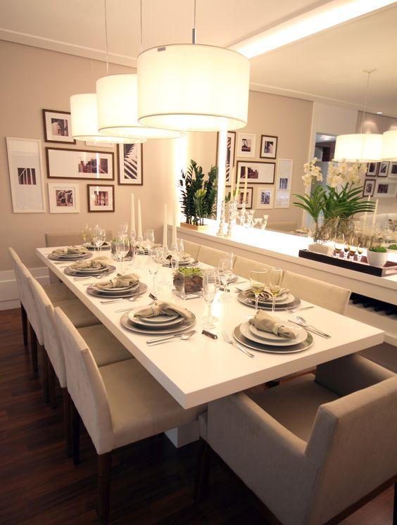 Sala De Jantar Branca De Luxo ~  Projetos – Decoração de Salas de Jantar com Quadros 15 Fotos
