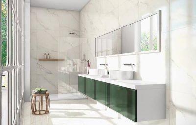A decoração de banheiro com porcelanato é sofisticada (Foto: pinterest.com)