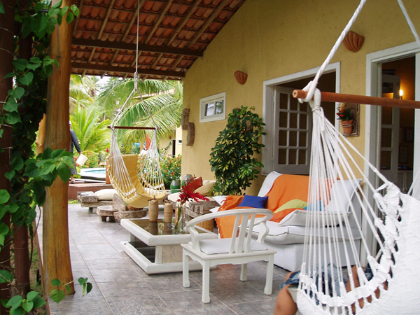 rede na decoração da varanda