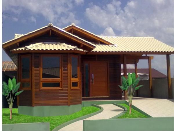 fachada de madeira