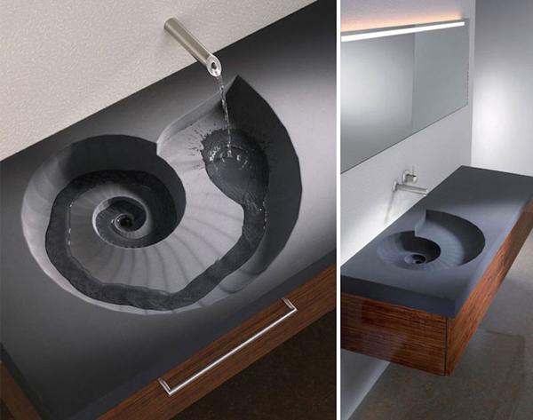 pia de banheiro em espiral