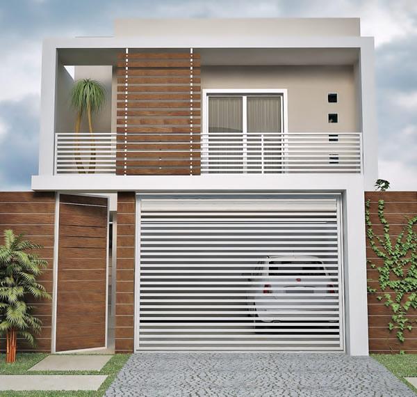 fachada de casas simples com portao de aluminio branco