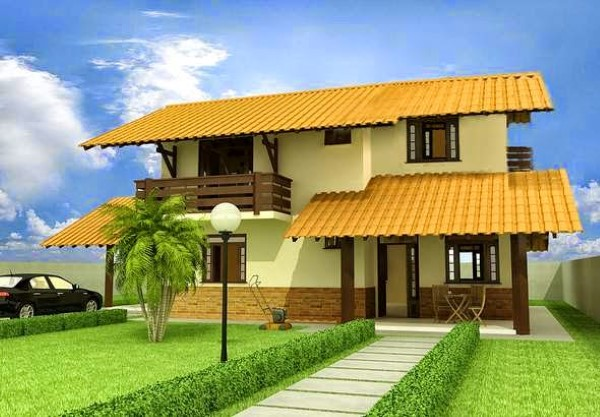 fachadas de casas simples com muro