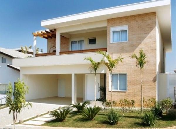 fachadas de casa com parede revestida