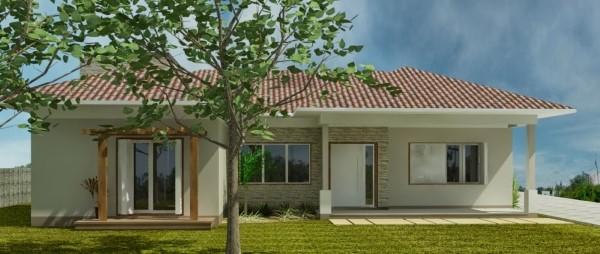fachadas de casas simples com janelas grandes