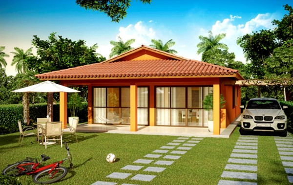 fachadas de casas pequenas com garagem na lateral