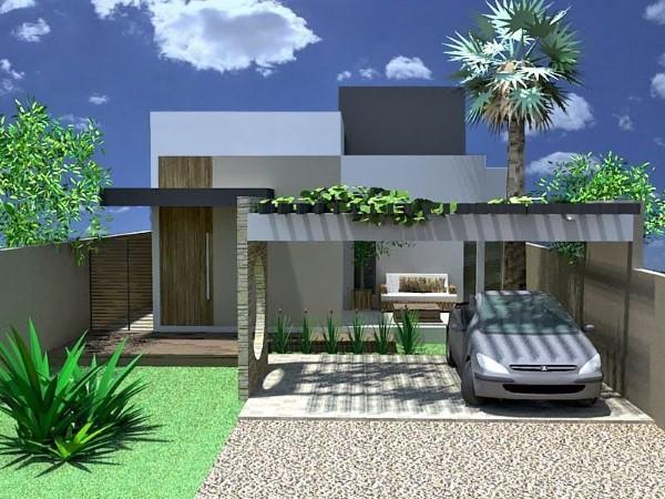 fachadas de casas pequenas com garagem fechada