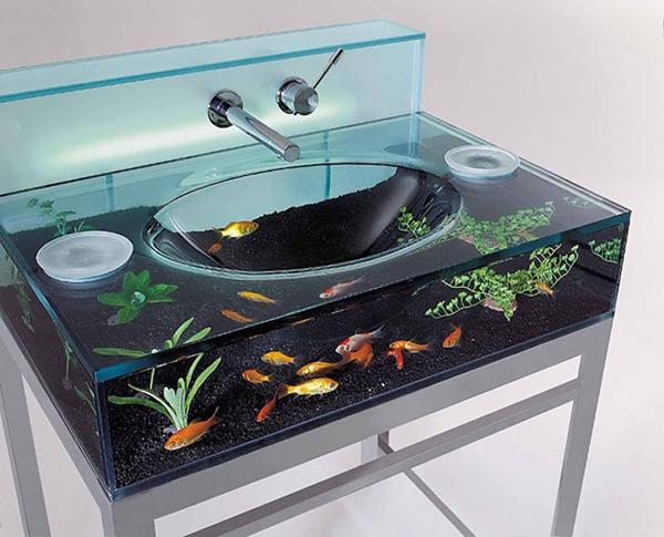 pia de banheiro com aquário