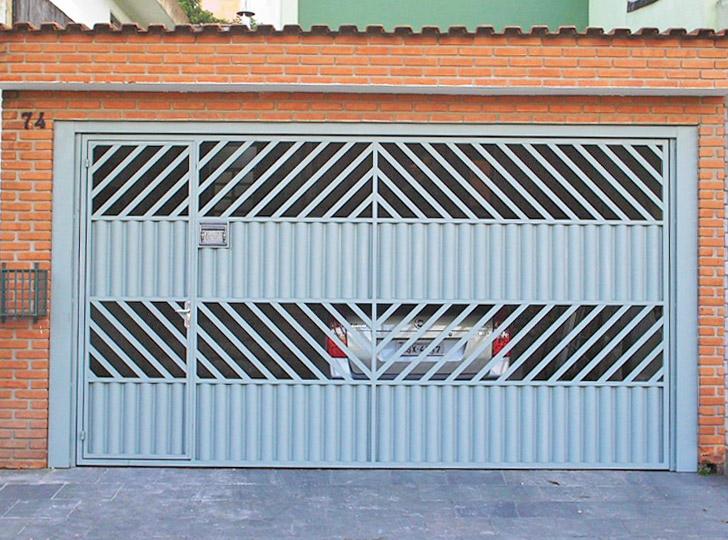portão residencial azul