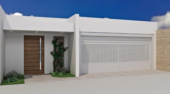 portao de entrada feito de madeira