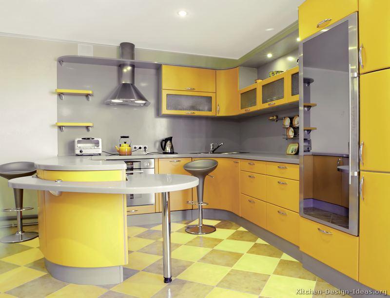 cozinha amarela com xadrez