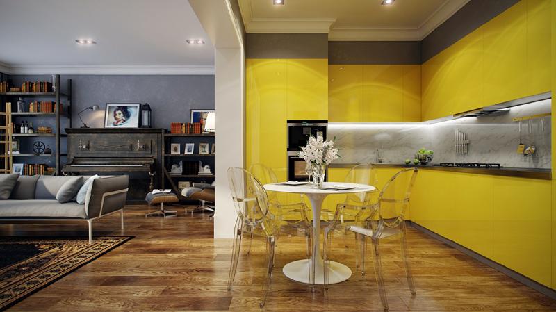 cozinha amarela com marmore