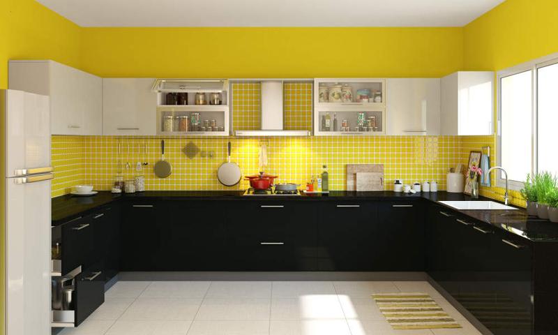 cozinha amarela com branco e preto