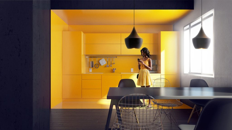 cozinha amarela com preto
