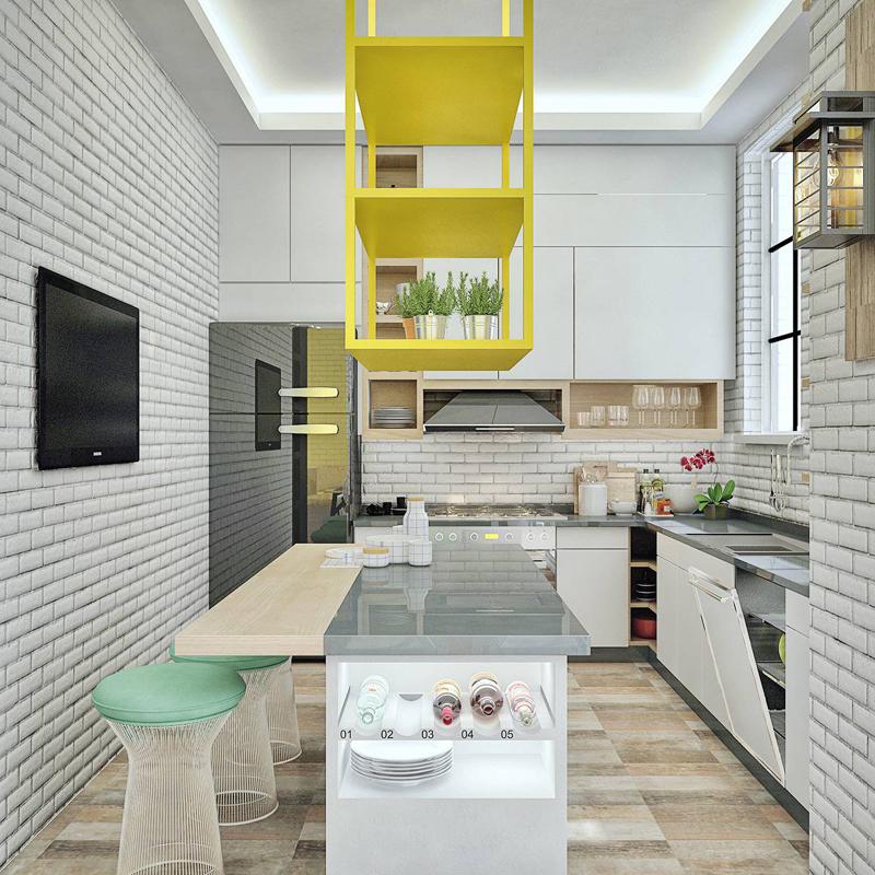 cozinha amarela com caixote