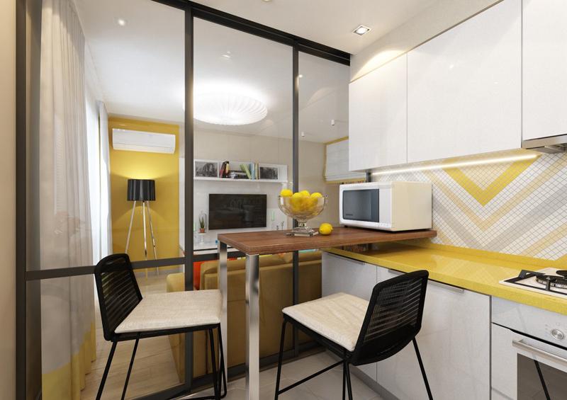 cozinha amarela com branco