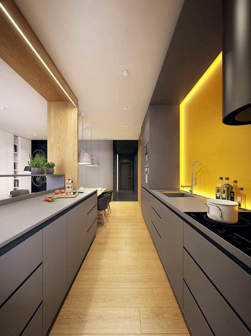 cozinha amarela com luz indireta