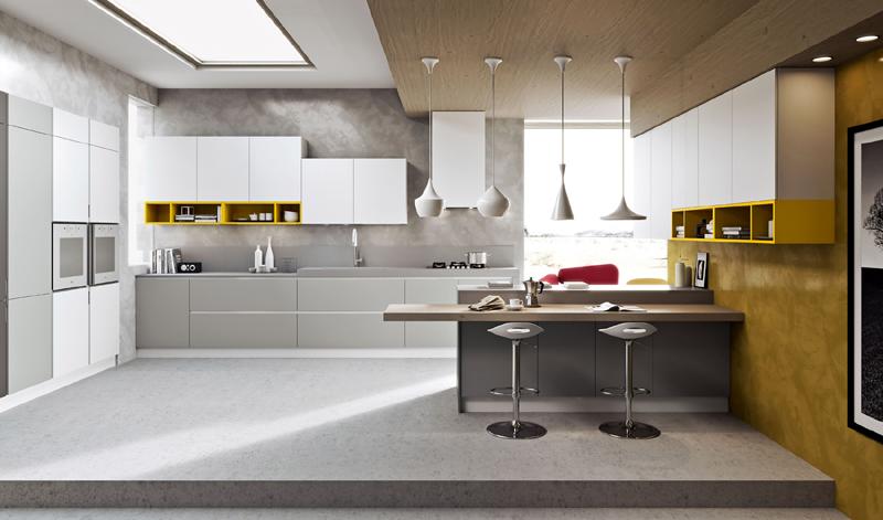 cozinha amarela com detalhes