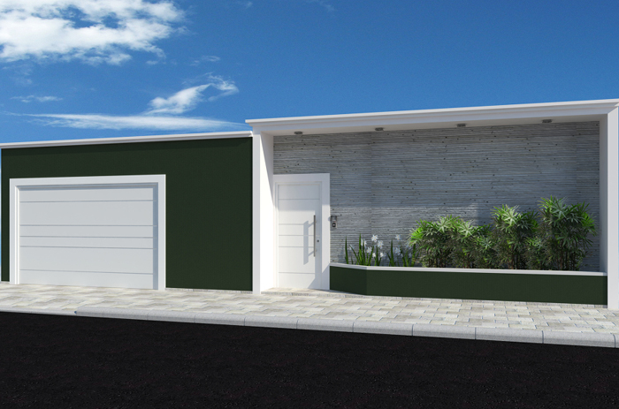 muro de residência verde