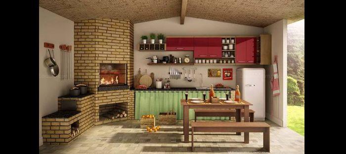 varanda rústica gourmet com forno