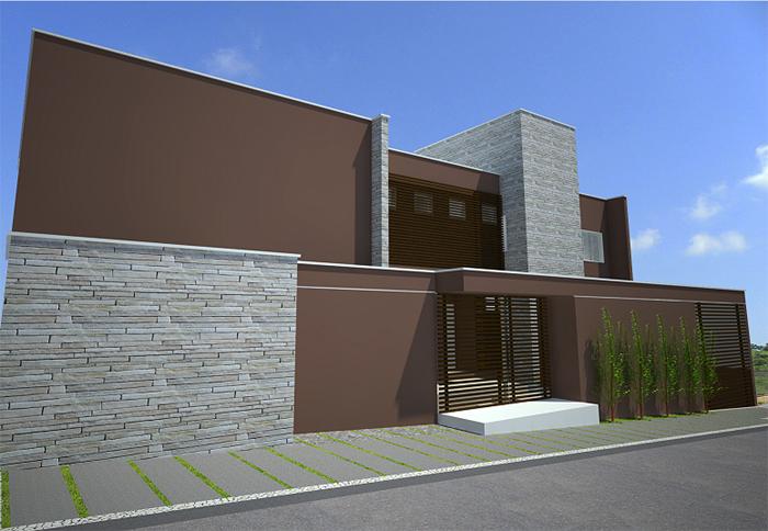 muro de residência marrom