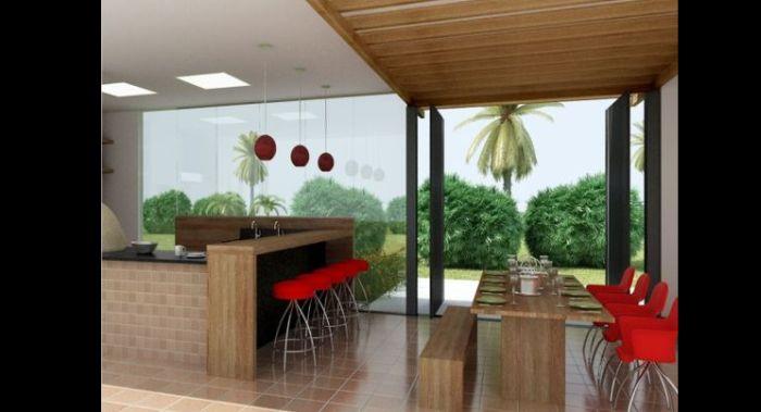 varanda rústica gourmet com cadeiras vermelhas