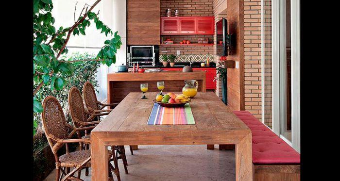 varanda rústica gourmet com vermelho