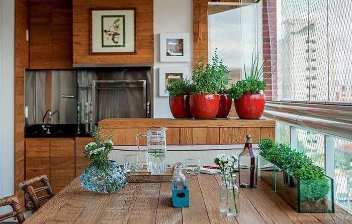varanda rústica gourmet com madeiras