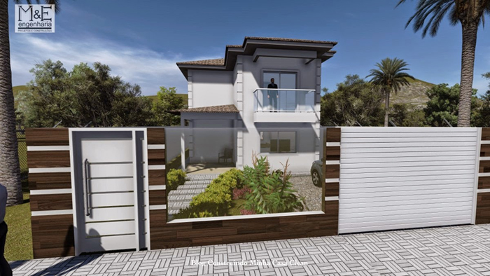 muro de residência com portão