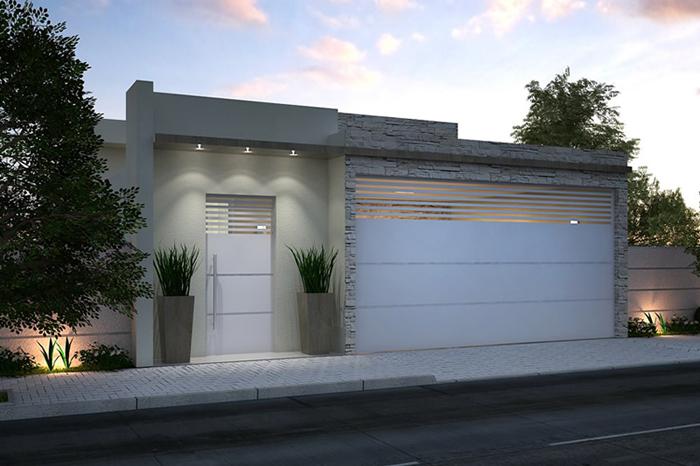 muro de residência com spot de luz