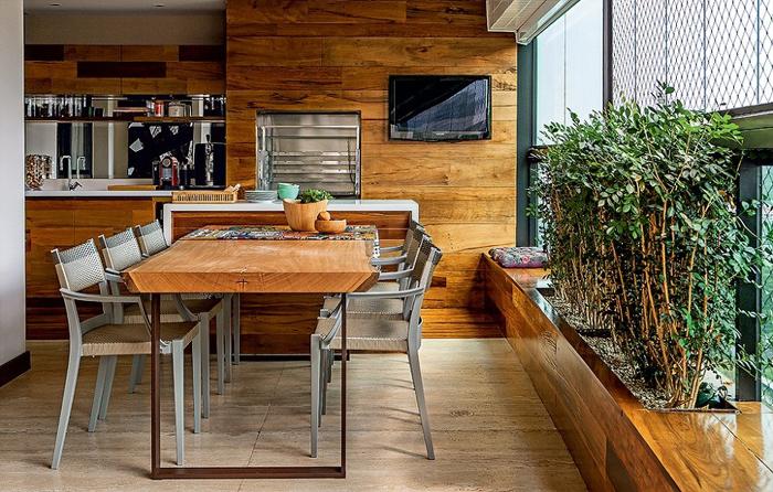 varanda rústica gourmet apartamento