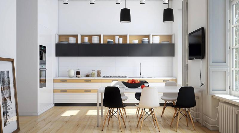 cozinha branca e preta com madeira