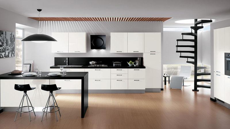 cozinha branca e preta grande