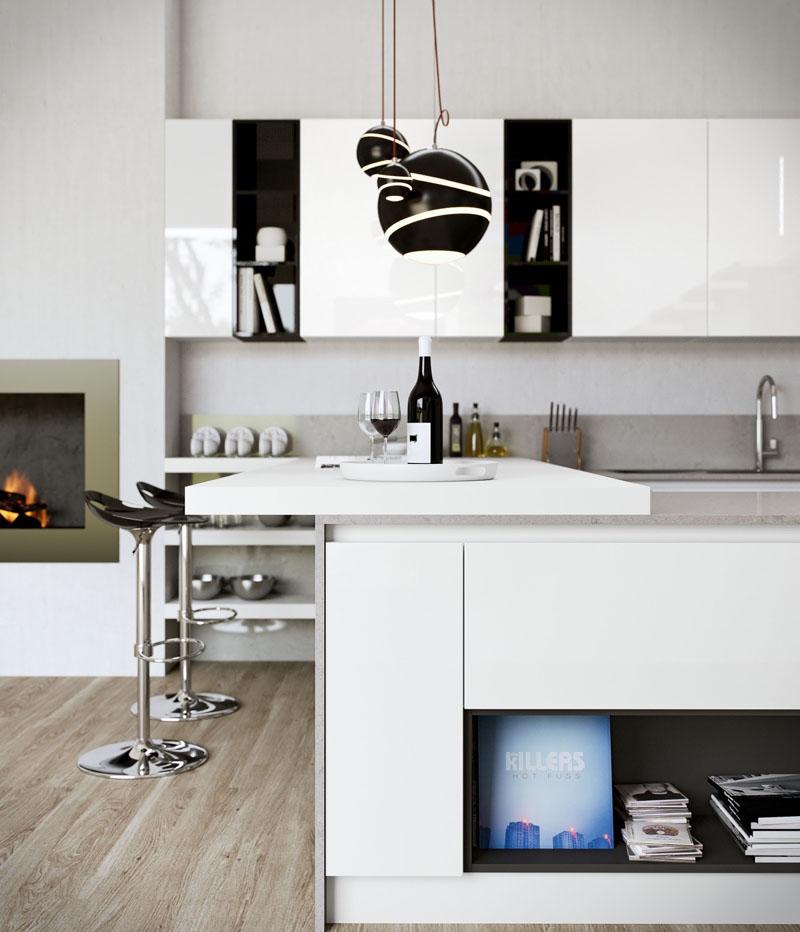 cozinha branca e preta moderninha