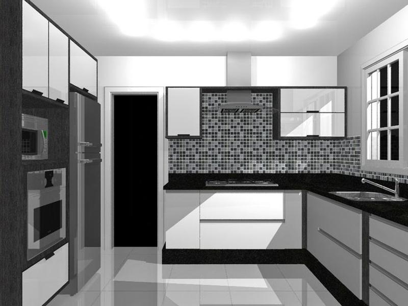cozinha branca e preta com pastilha