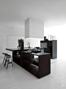 cozinha branca e preta moderna