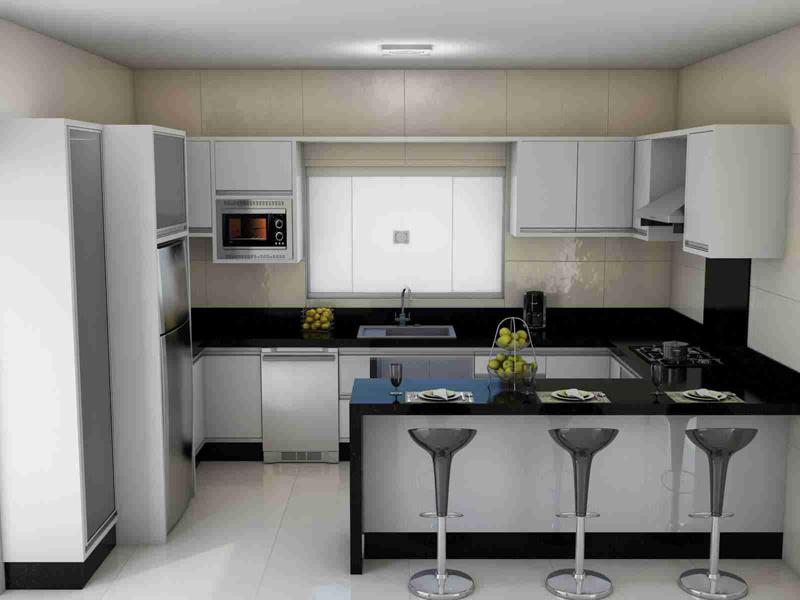 cozinha branca e preta americana
