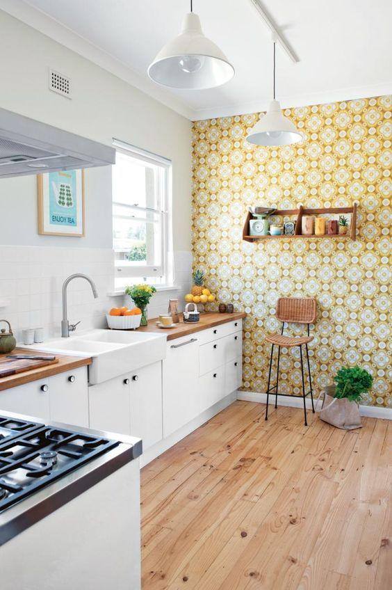 revestimento para parede de cozinha amarelo